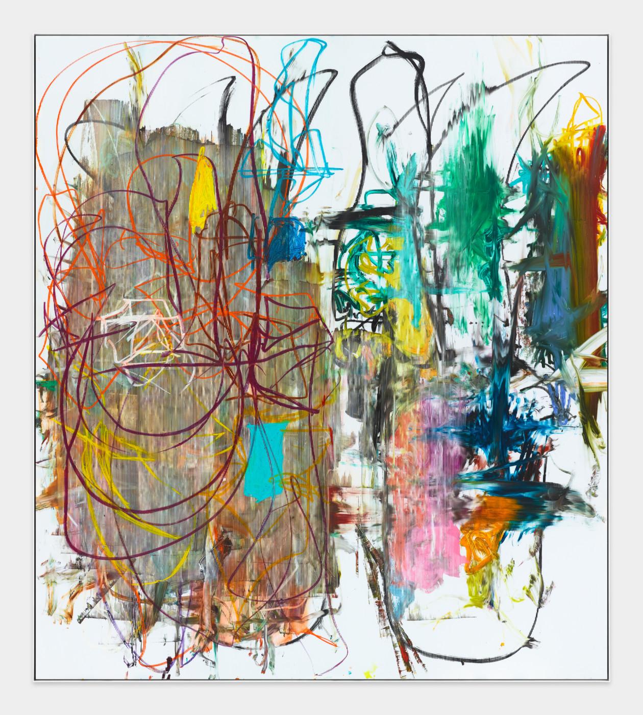 AARON GARBER-MAIKOVSKA  Untitled , 2018  Oil on fluted polyboard in artist frame  228,6 x 203,2 cm / 90 x 80 in  Aaron Garber-Maikovska
