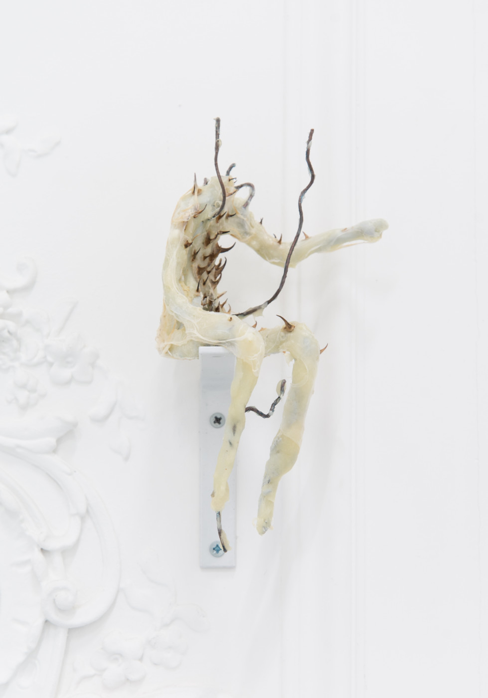 DEEPER THAN INSIDE Rolf Nowotny  Of Things Blooming at Night</I>, 2018 Epoxy, tin foil, copper and steel wire, thorns and plastic foil 20 x 10 x 10 cm / 7.9 x 3.9 x 3.9 in Theodora Allen  Olga Balema  Adam Gordon  Tom Humphreys  Dawn Mellor  Ragen Moss  Rolf Nowotny  Benjamin Reiss  Dylan Vandenhoeck