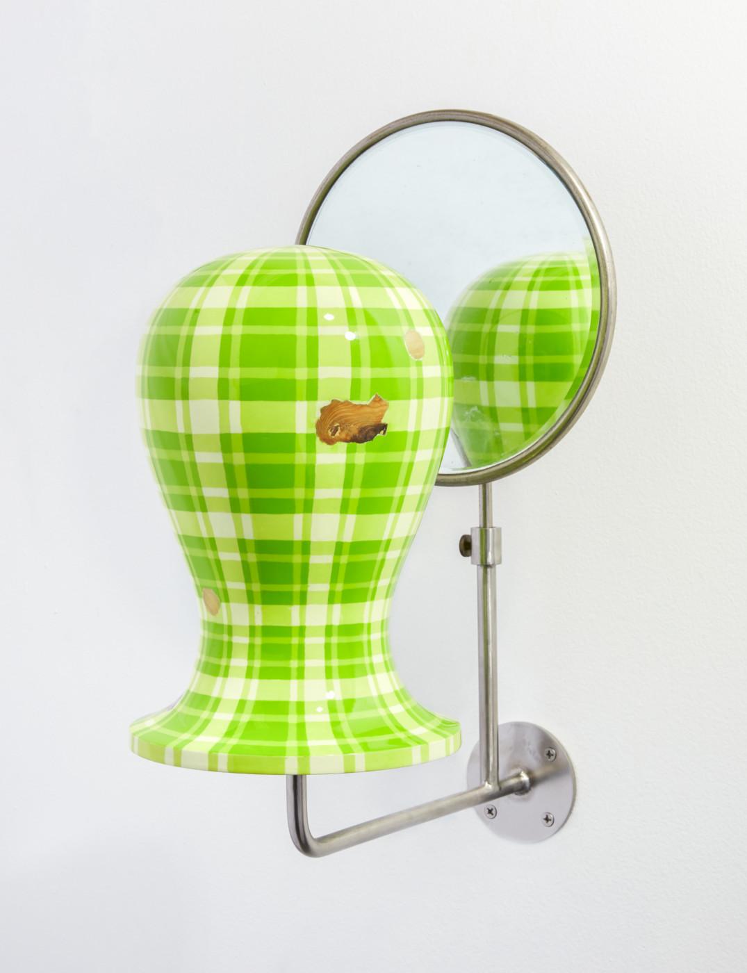 TÊTE  Tête fig. 3</I>, 2019 Acrylic, enamel, wood, steel, mirror 51.5 x 20 x 38.5 cm / 20 1/4 x 7 7/8 x 15 1/8 in  ORION MARTIN