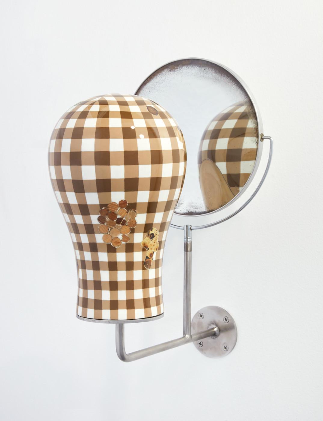 TÊTE  Tête fig. 4</I>, 2019 Acrylic, enamel, wood, steel, mirror 49 x 29 x 37 cm / 19 1/4 x 11 3/8 x 14 5/8 in  ORION MARTIN