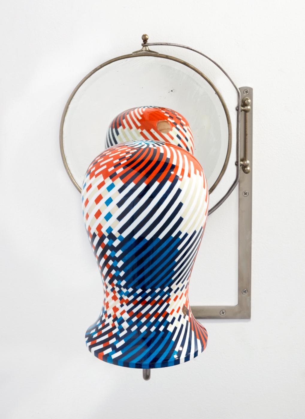 TÊTE  Tête fig. 5</I> (detail), 2019 Acrylic, enamel, wood, steel, mirror 53 x 37 x 38.5 cm / 20 7/8 x 14 5/8 x 15 1/8 in  ORION MARTIN