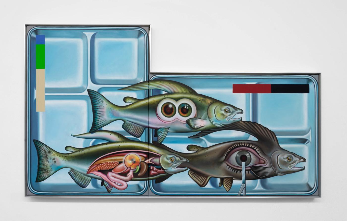 ORION MARTIN  M.R.E.  2021 Oil on linen, aluminum frame 69,9 x 120,7 cm / 27 1/2 x 47 5/8 in - High Art Gallery Paris