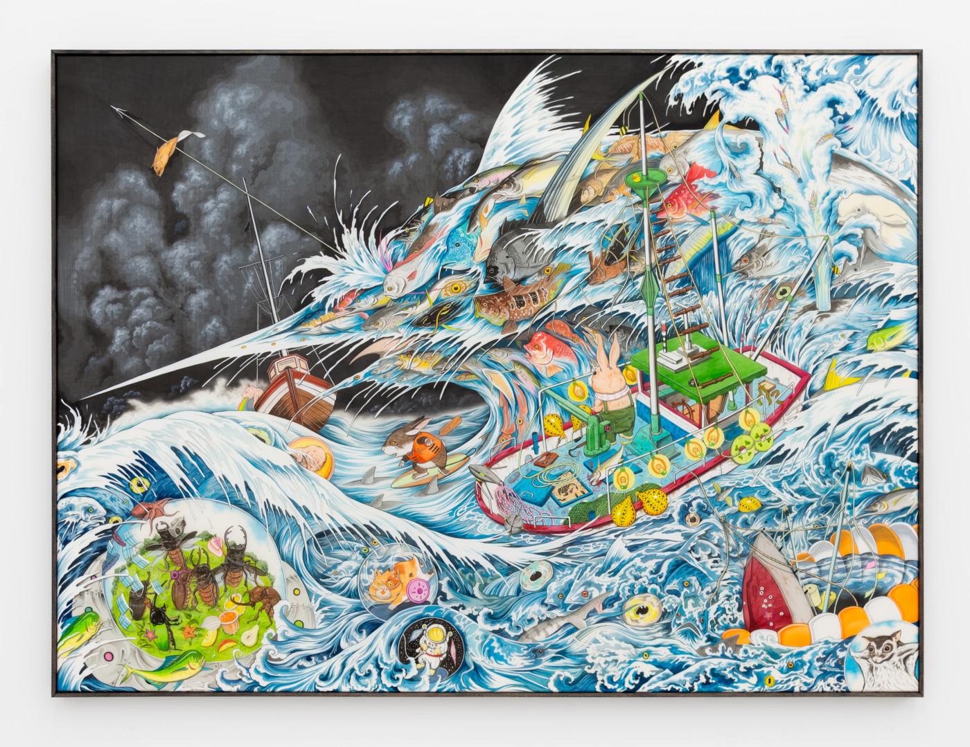 HUN KYU KIM  Slippery Mass,  2020 Pigment painted on silk 105 x 130 cm / 41 3/8 x 51 1/8 in - High Art Gallery Paris