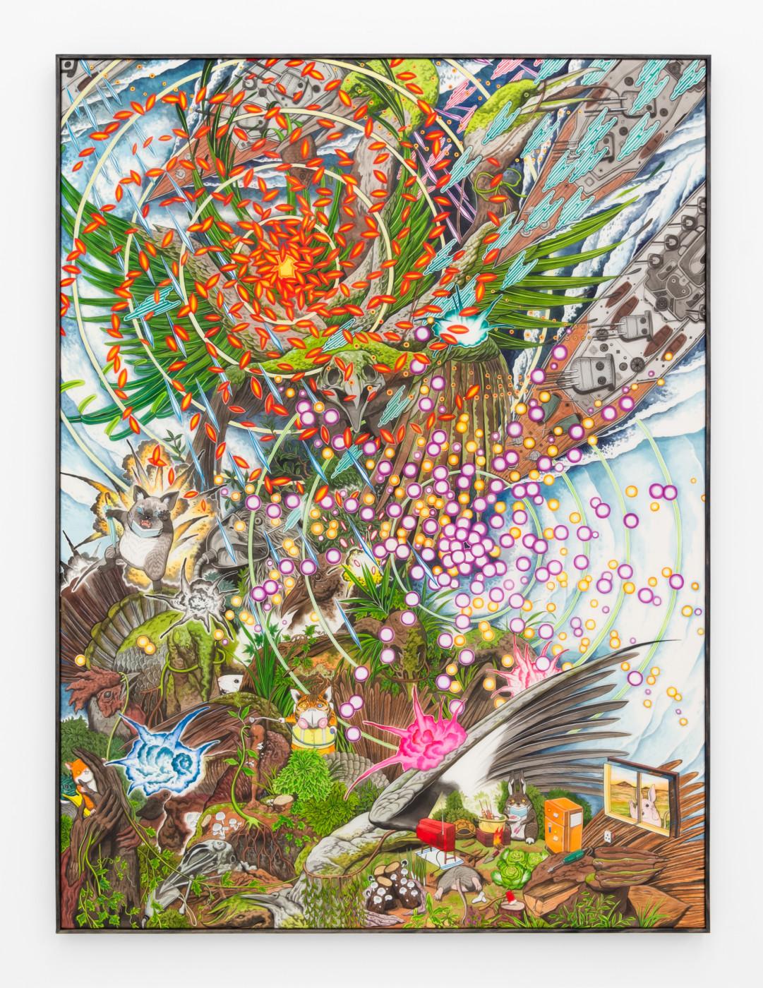 HUN KYU KIM  Last Shelter,  2020 Pigment painted on silk 136 x 102 cm / 53 1/2 x 40 1/8 in - High Art Gallery Paris