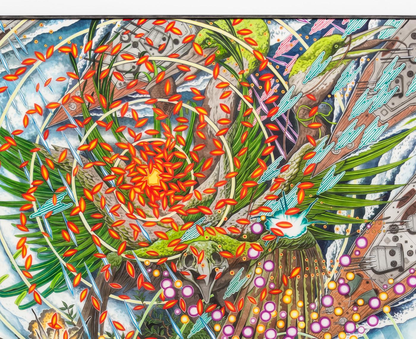 HUN KYU KIM  Last Shelter,  2020 (detail) Pigment painted on silk 136 x 102 cm / 53 1/2 x 40 1/8 in - High Art Gallery Paris