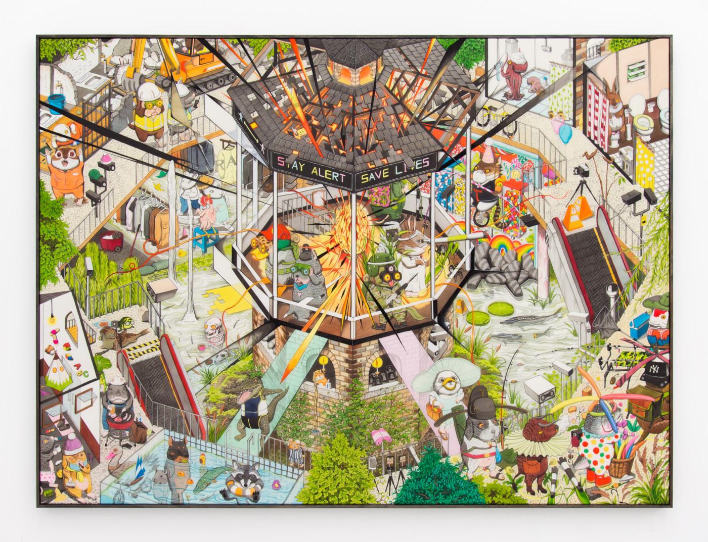 HUN KYU KIM Alert Save Lies, 2020 Pigment painted on silk 102 x 136 cm / 40 1/8 x 53 1/2 in - High Art Gallery Paris