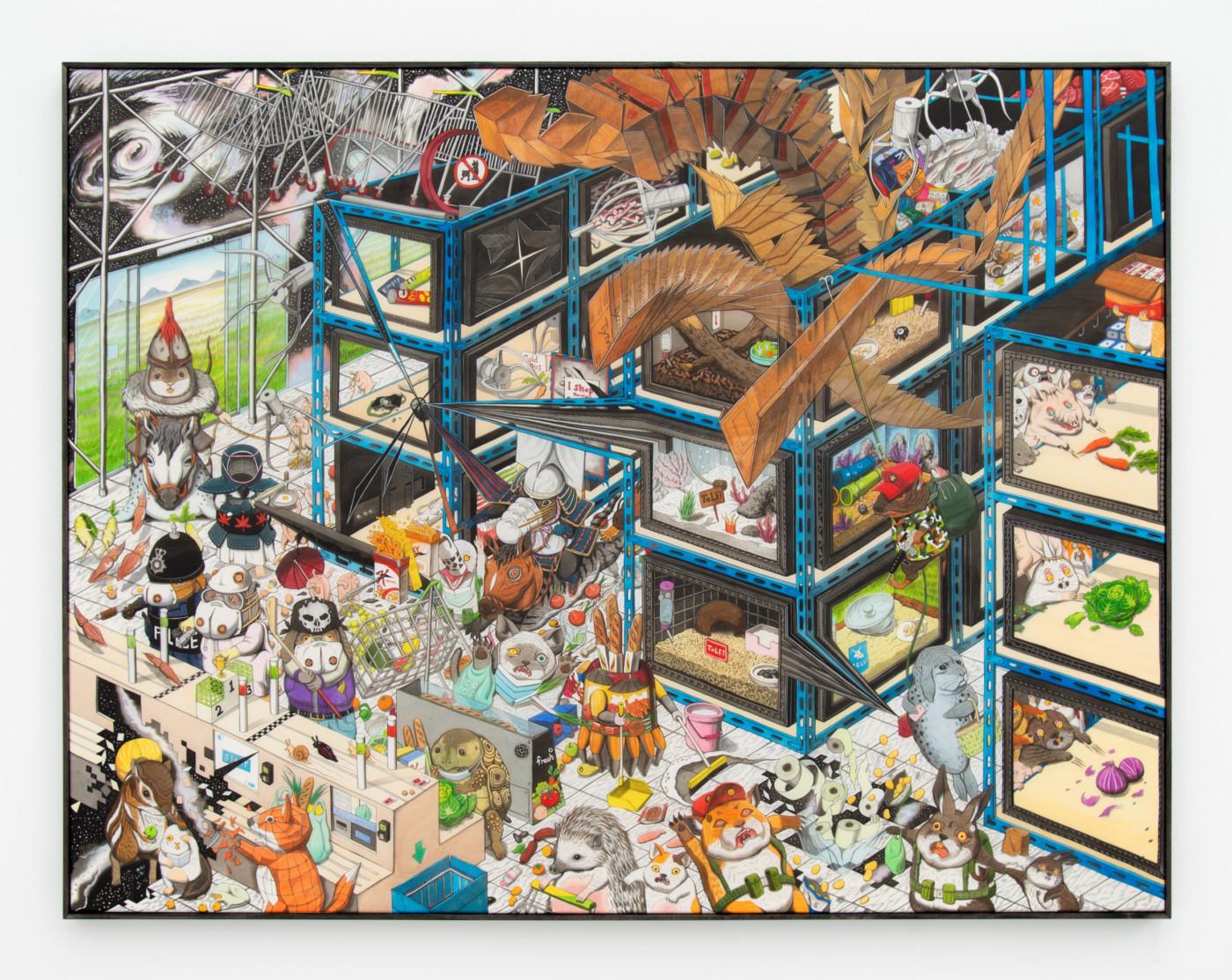 HUN KYU KIM Readymade Flea Market, 2020 Pigment painted on silk 101 x 131 cm / 39 3/4 x 51 5/8 in - High Art Gallery Paris