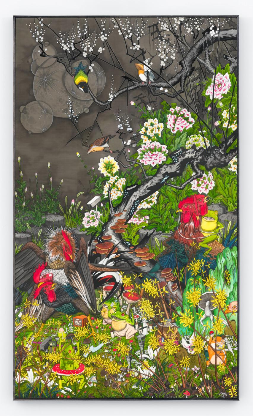 HUN KYU KIM  Plural Landscape , 2019 Pigment on silk 120 x 70 cm / 47.2 x 27.6 in   - High Art Gallery Paris