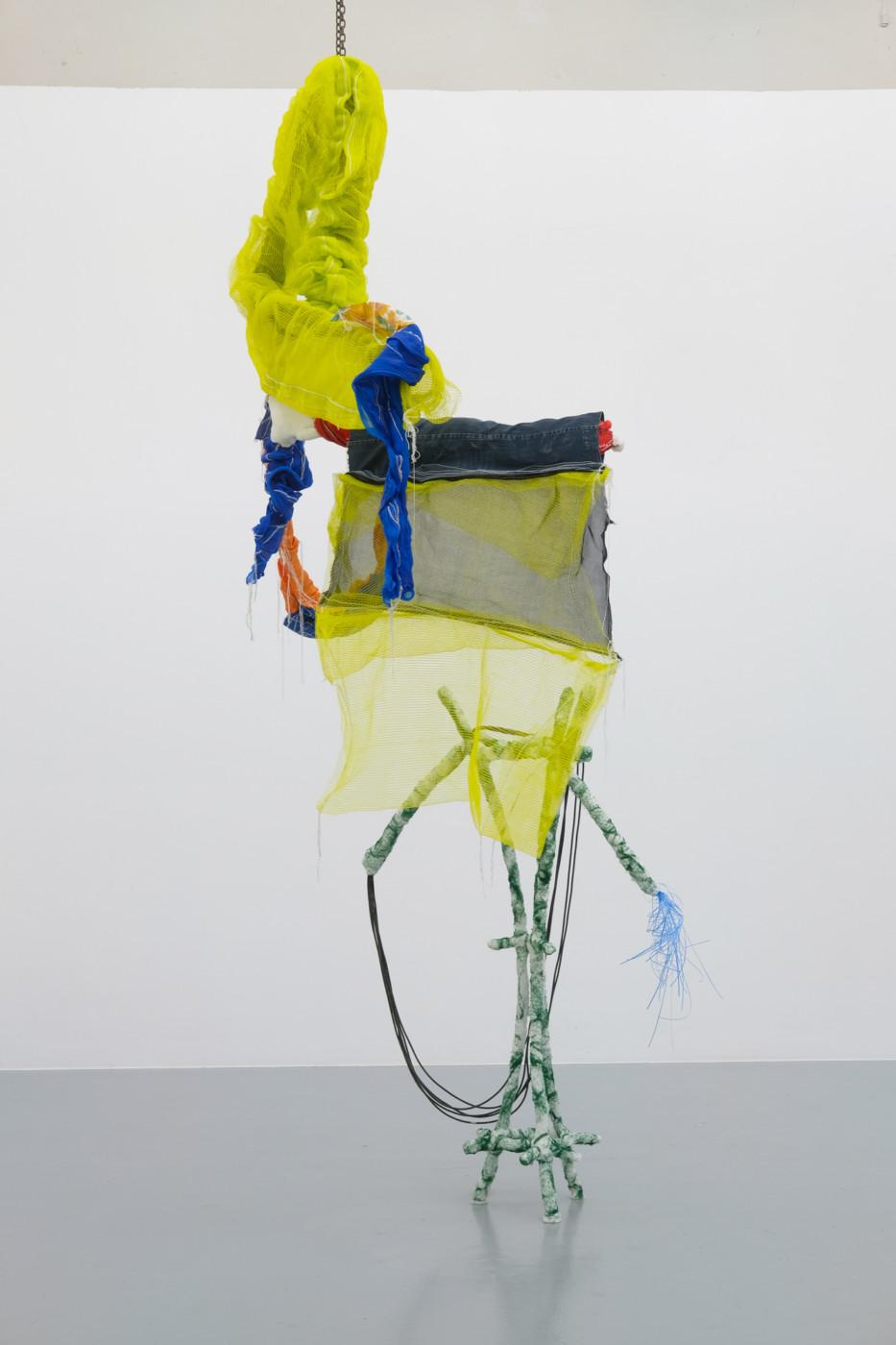 JULIEN CREUZET  Il pleut encore, des minis gouttelettes (...) , 2019 Metal, wood, plastic, electrical wiring, fabric, denim Approx. 300 x 90 x 50 cm / 118 x 35 x 20 in - High Art Gallery Paris